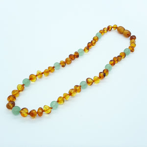 Brown Baltic Amber & Aventurine Babies Necklace