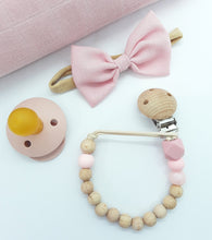 Load image into Gallery viewer, Dusky Rose Silicone & Beechwood Teething Ring