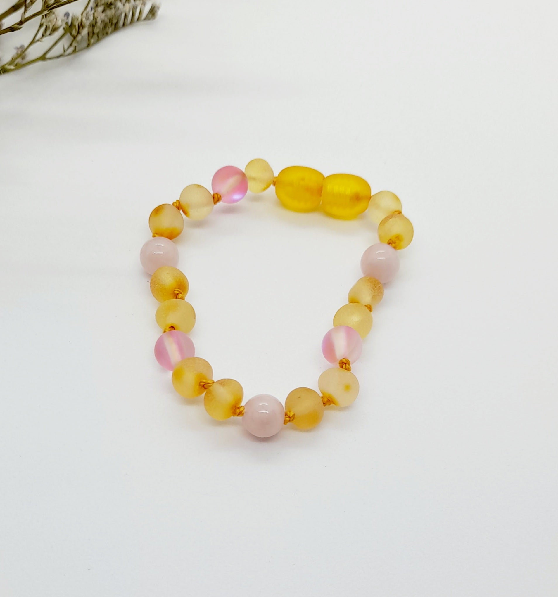 Yellow Amber with Quartz & Pink Moonshine SET