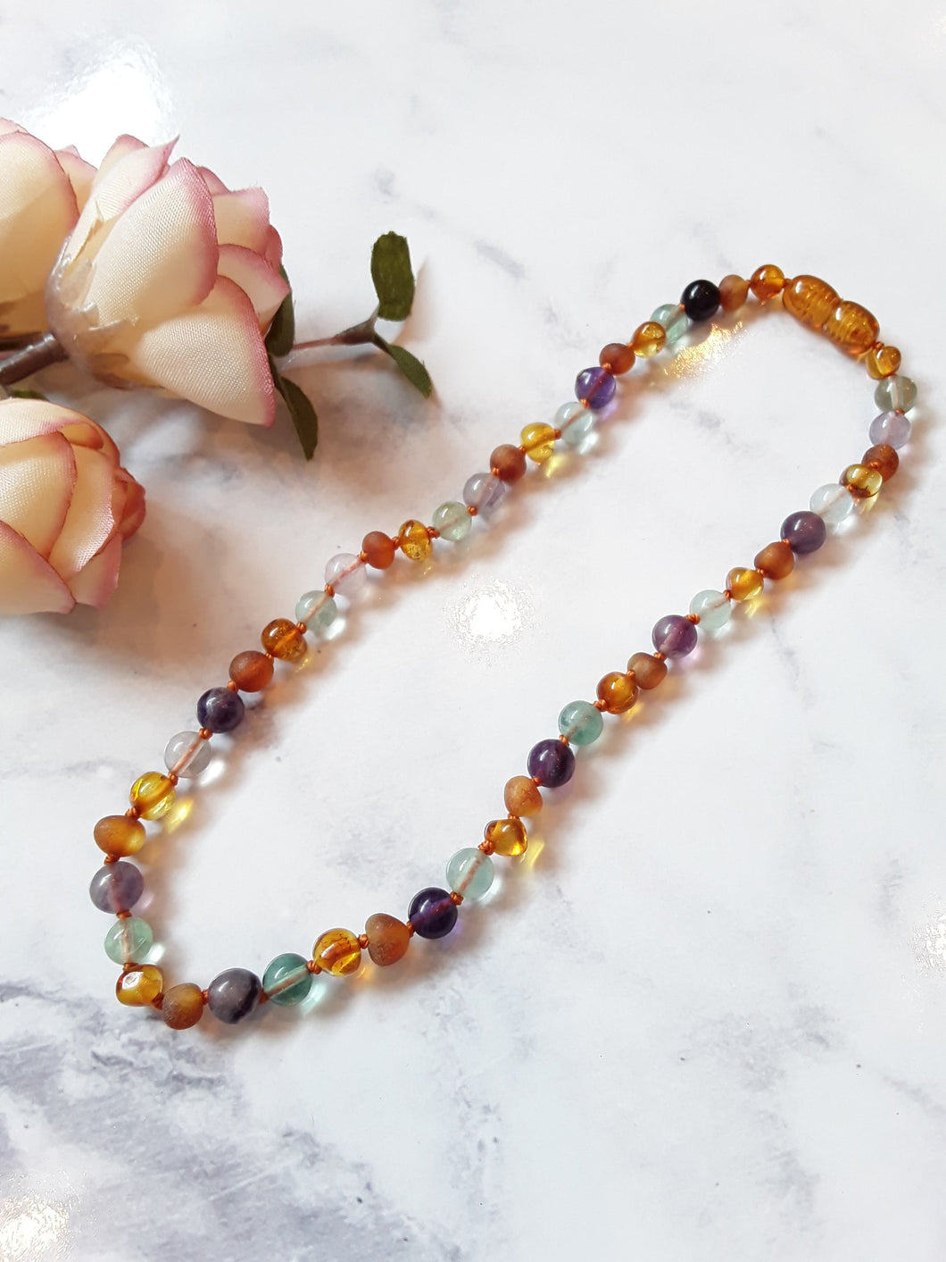 Baltic Amber & Fluorite Babies Necklace