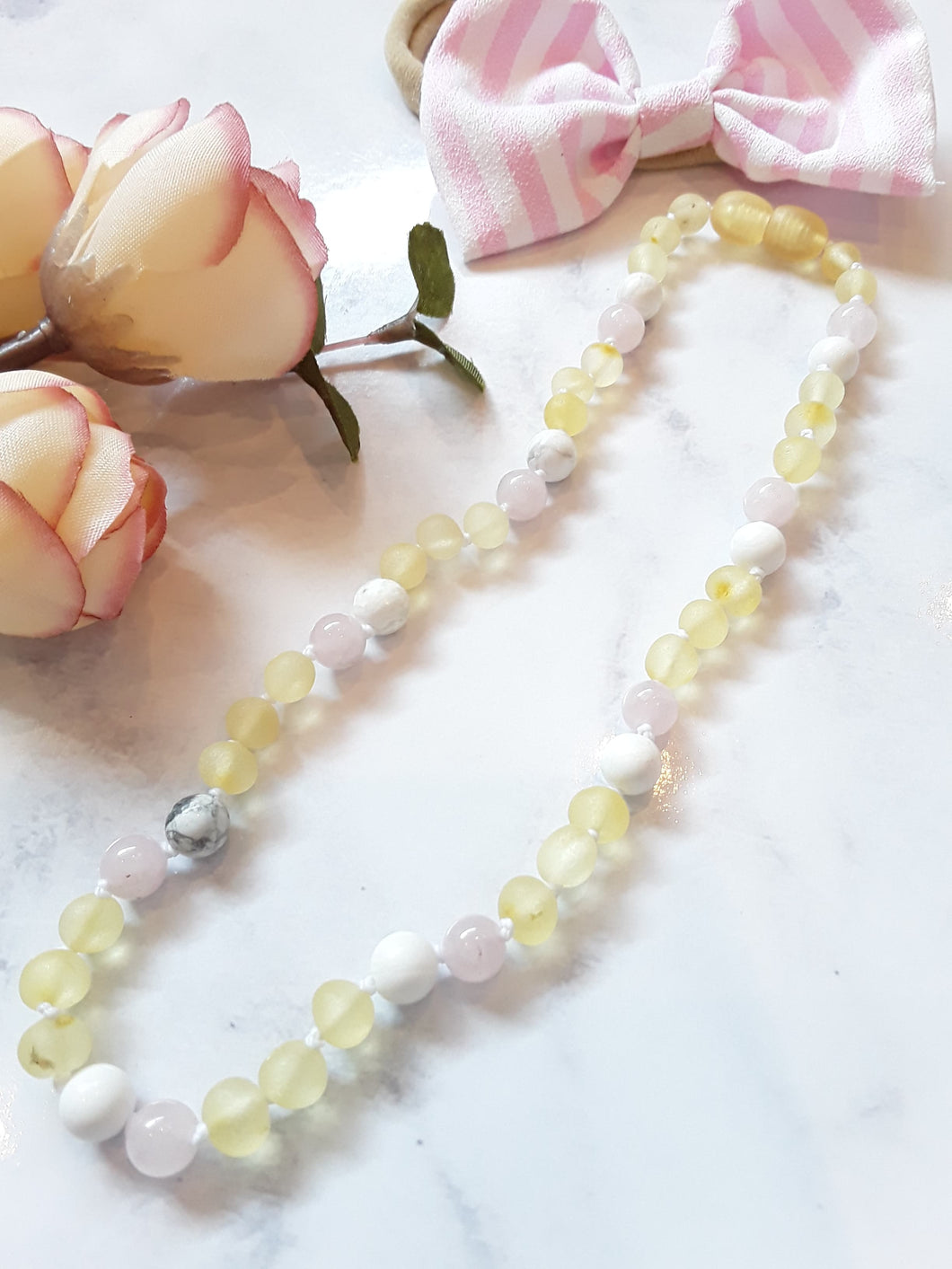 Raw Yellow Amber with Howlite & Pink Semi-Precious Stones Necklace