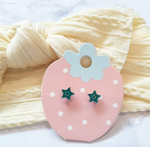 Green Star Kids Earrings