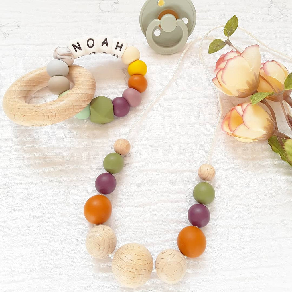 Silicone necklace Autumn tones