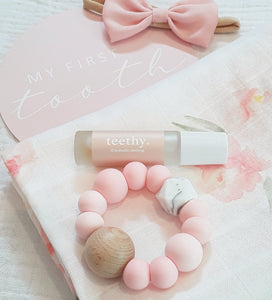 Rose Quartz & Marble Silicone & Beechwood Teething Ring