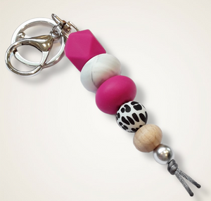 Silicone keyring hot pink and animal print