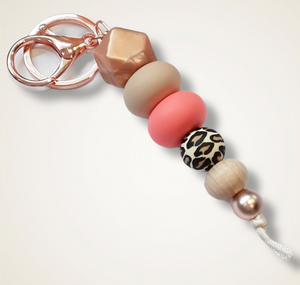 Silicone keyring rose gold and peach
