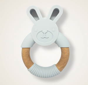 Grey silicone teething bunny