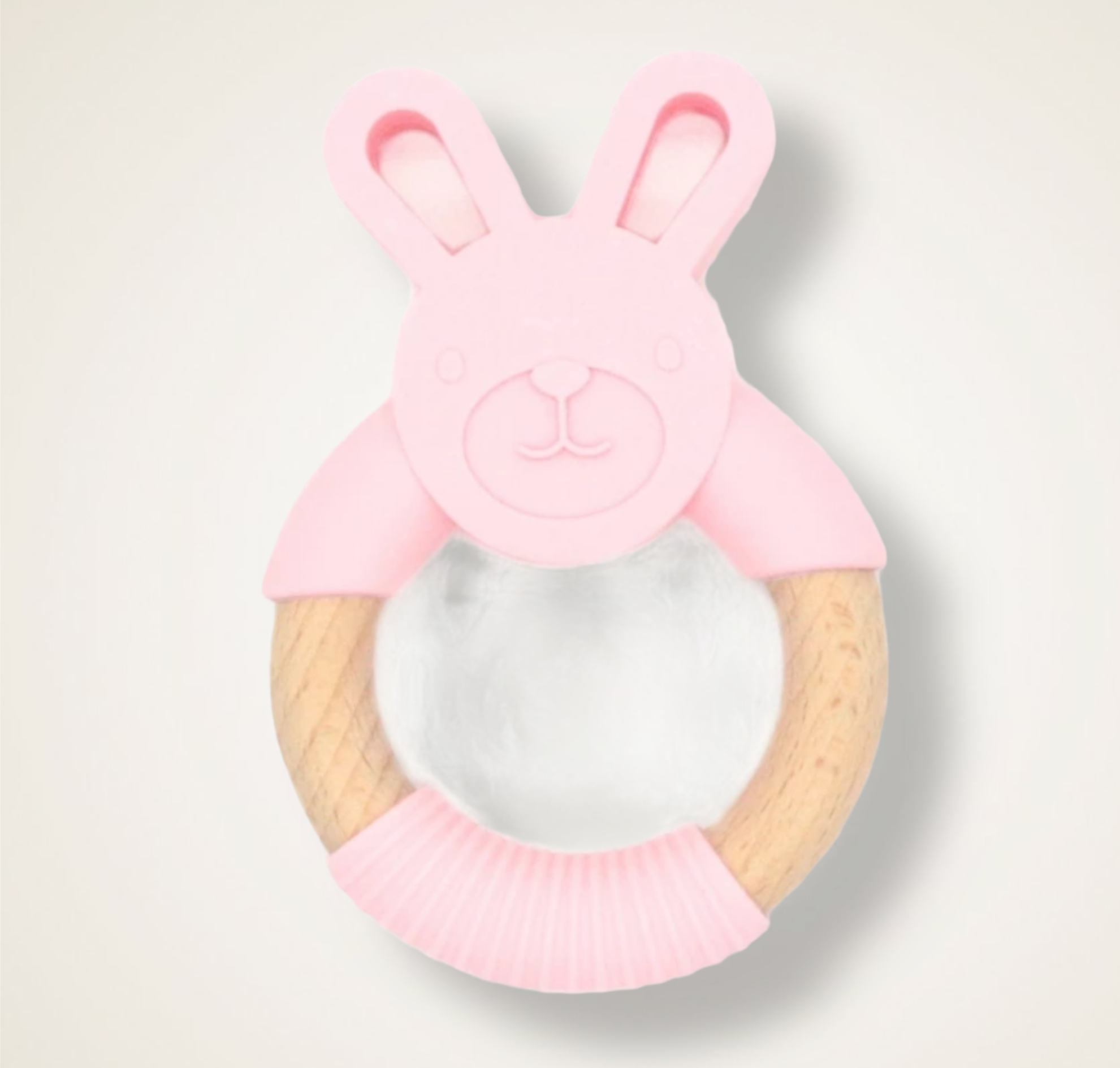 Pink teething bunny silicone and beechwood