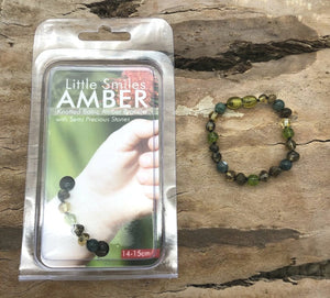 Green Baltic Amber with Moss, Agate & Peridot Bracelet/Anklet