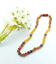 Load image into Gallery viewer, Rainbow Raw Amber with Lepidolite Necklace