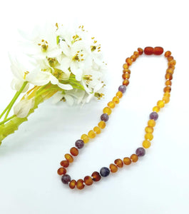 Rainbow Raw Amber with Lepidolite Necklace