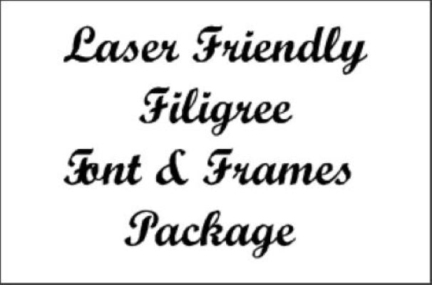 Laser Jump Start's Laser Friendly Filigree Font & Frames