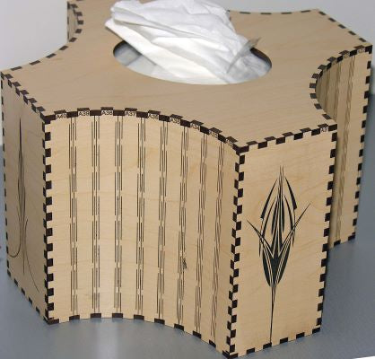 Kleenex holder made with Laser Jump Start's FlexIt Suite