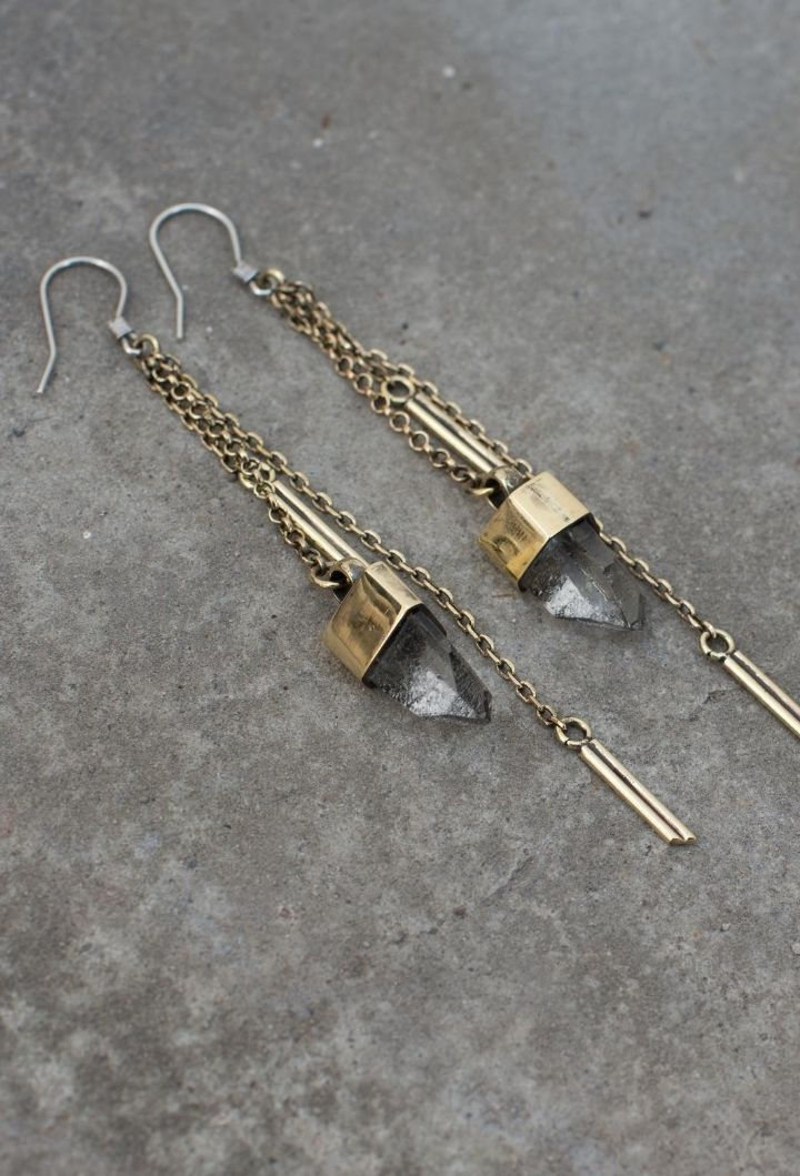 Crystal Dangle Earrings - Brass