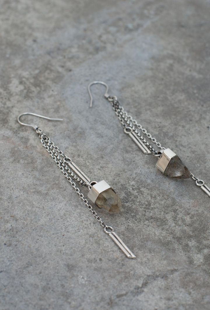 Boucles d'oreilles Crystal Dangle Argent