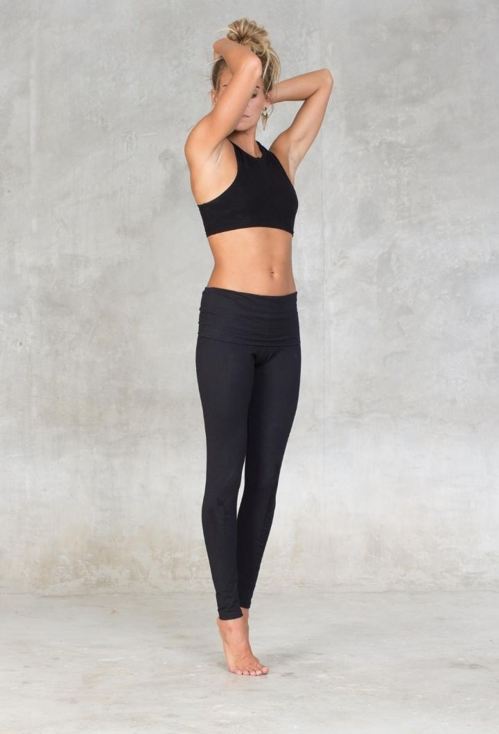 Cotton Fold Over Yoga Pants