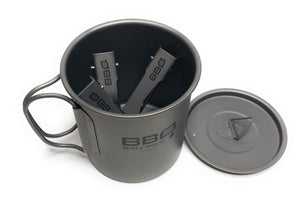 Titanium Mug 450 ml with Lid and Cutlery Set