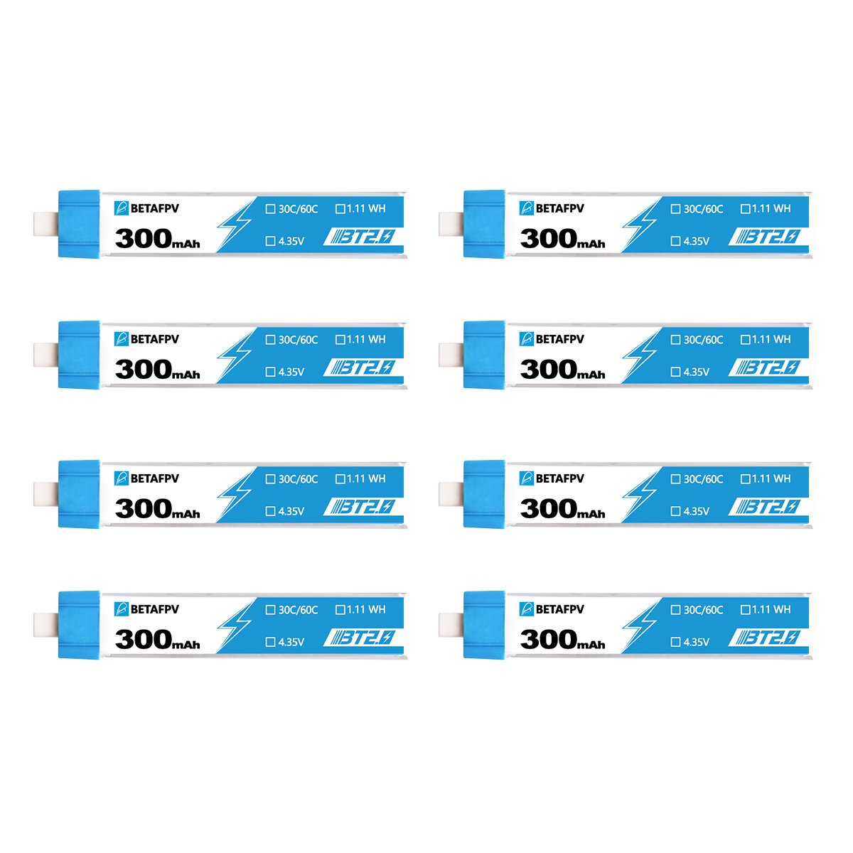 Batteries BETAFPV BT2.0 300mAh 1S 30C  (8PCS)