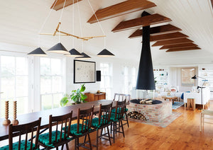Emily Group of Five handmade sheet metal chandelier, high gloss black painted with an oak timber frame and textile cables in a stylish danish modern mansion interior