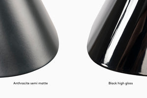 Emily series of pendant lamps by Daniel Becker Studio Berlin, paint finish comparison between high gloss and semi-matte