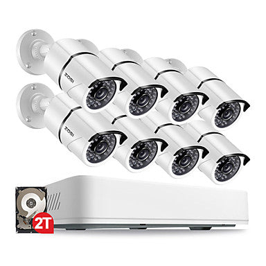 ZOSI® 8CH HD 5.0MP Outdoor/ Indoor Security Camera System with 8 x 5MP 2560*1920 HD CCTV Camera Pre-Installed 2TB Hard Drive