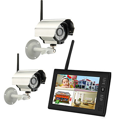 "Wireless 4CH Quad DVR 2 Cameras with 7"" TFT-LCD Monitor Home security system"