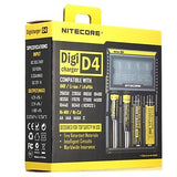 Nitecore D4 Battery Charger Smart Integrated LCD Panel Displays for Li-ion, Ni-Cd, Ni-MH Protected Circuit, Short Circuit Protection, Over Charging Protection USA UK EU Plug Options 10440,14500,16340