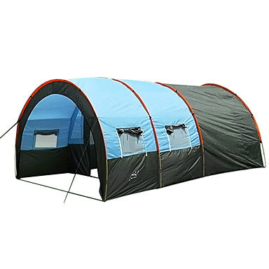 7 person Family Tent Outdoor Windproof, Warm, Ultra Light (UL) Single Layered Poled Tunnel Camping Tent Two Rooms 1000-1500 mm for Fishing Beach Camping PU Leather, Fiberglass, Polyester 480*310*210