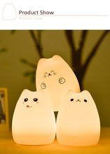 Load image into Gallery viewer, SOFT & CUTE Cat Night Light USB (Touch Sensitive Silicone)