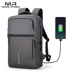Mark Ryden Man Backpack USB Recharging 17 Inch Laptop Male Bag Water-repellent Travel Mochila Men