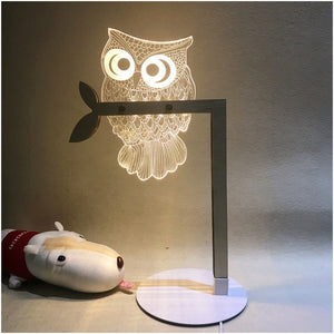 Unique Optical Illusion Owl Lamp