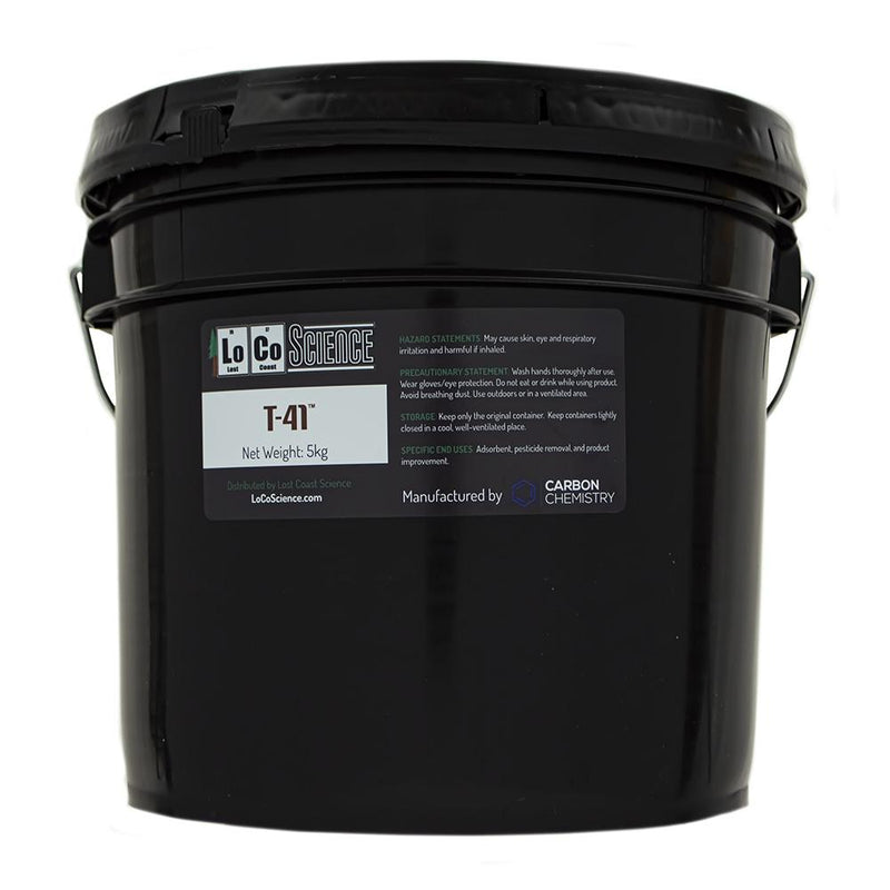5KG variant of T-41 Acid Activated Bleaching Clay by Carbon Chemistry. T-41 Acid activated is a filtration media sold by LoCo Science.