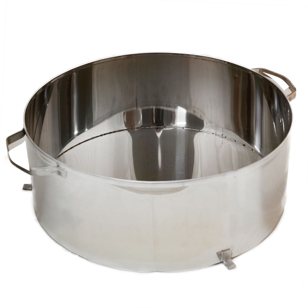 A stainless welded pan for a Leader cream machine. This would be a spare pan, or a replacement pan. Some producers like a spare pan so that they can have multiple batches going at the same time.