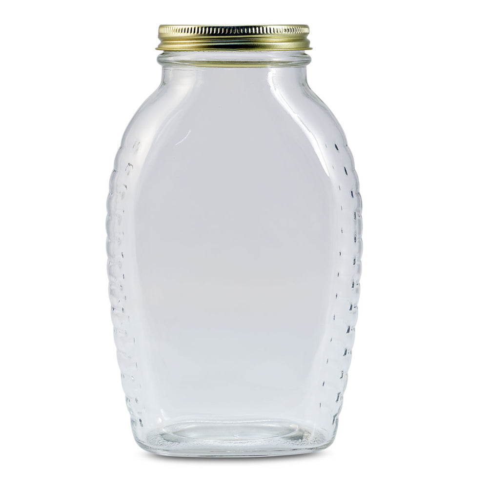 2 lb Honey Jar (12/case) (Gold Solid Covers)