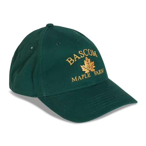 Forest green baseball hat with Bascom Maple Farm logo.