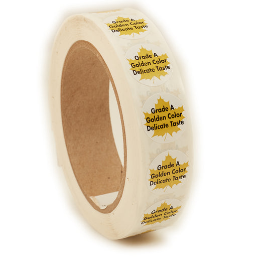 Grade A Golden Delicate Taste Grade Label, Leaf Circle, 1,000/roll