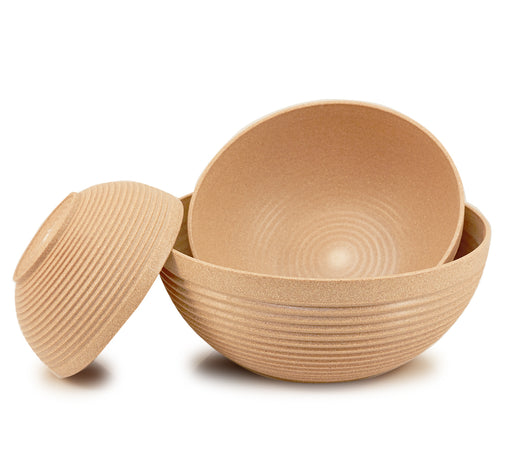 "Maple Origins 3 Piece Bowl Set (oatmeal color) 1) 7 1/2""x3 1/4"" bowl, 1) 10""x4"" bowl and 1) 12""x5"" bowl"