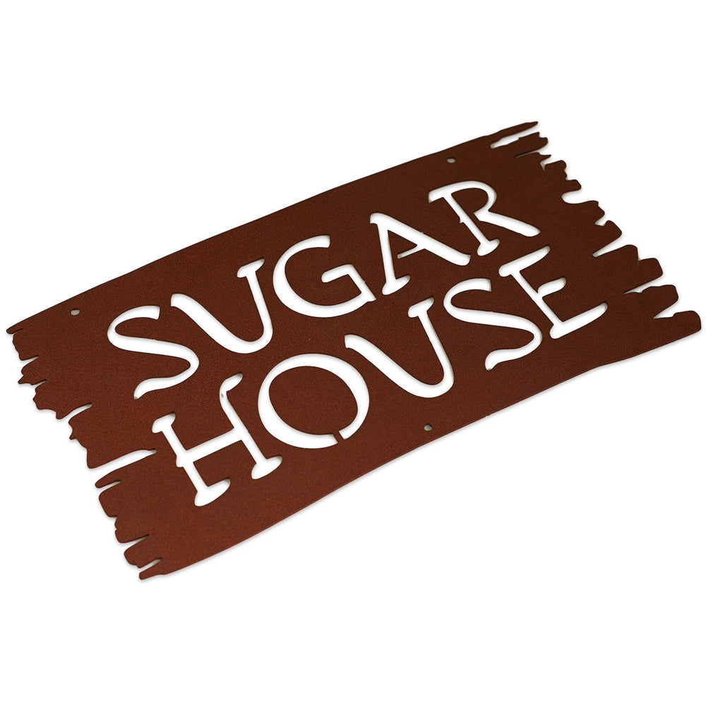 "Metal Sugar House Sign (16""x9"") Rustic Brown"