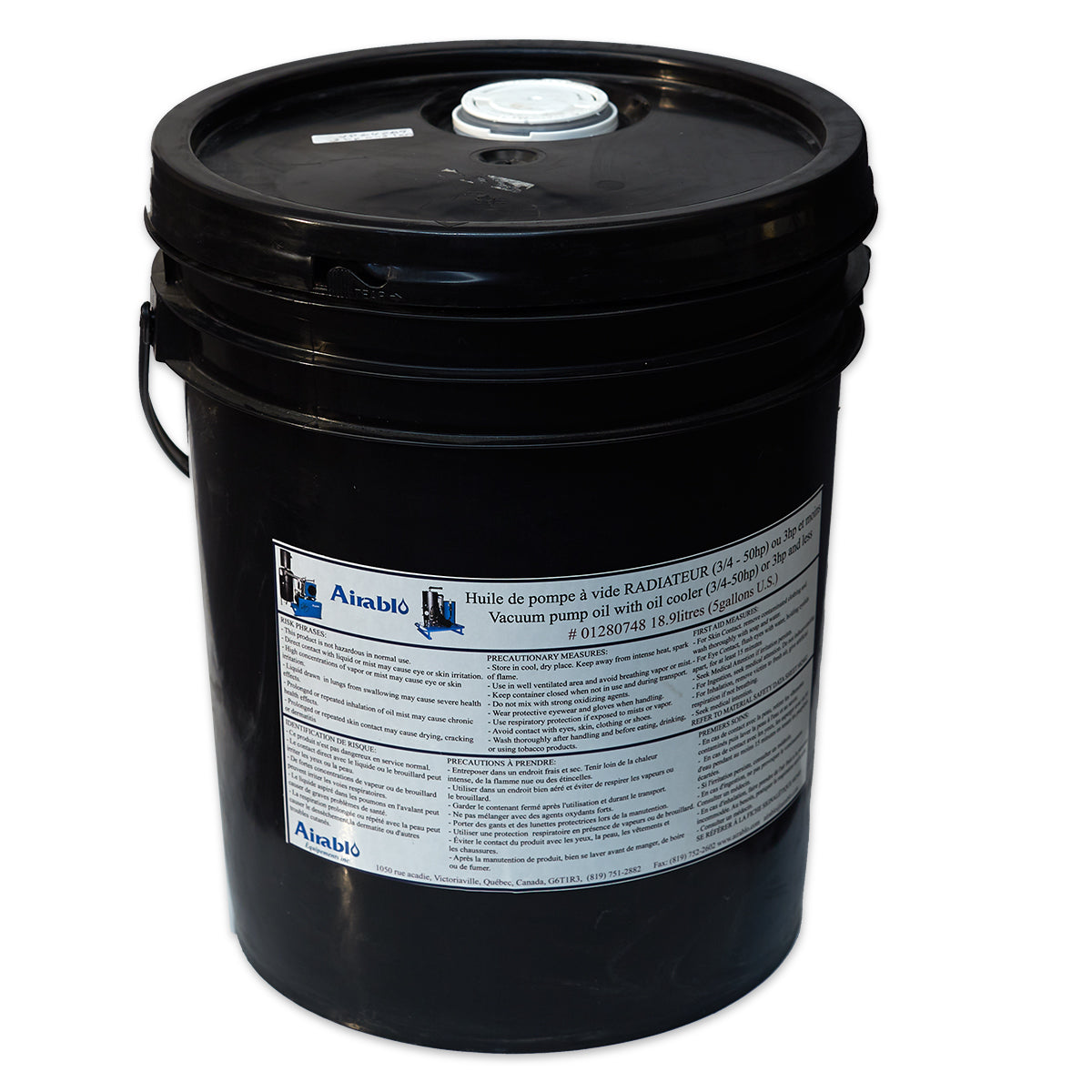 Airablo Vacuum Pump Flood Oil (5 gal. pail) for 3 hp and smaller Airblo Pumps
