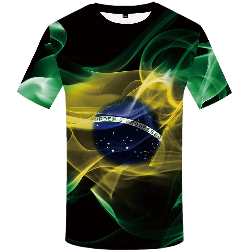 Brazil T-shirt Men Green Flame