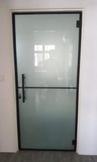 Frameless Frosted Glass Swing Door - AWC003 - Metal and Aluminium Fabrication