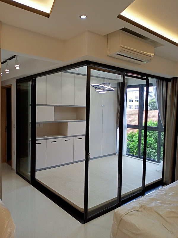 GD002 - Sliding Glass Doors with Mild-Steel Frame - Metal and Aluminium Fabrication