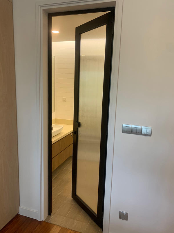 Frosted Glass Swing Door - AWC002 - Metal and Aluminium Fabrication