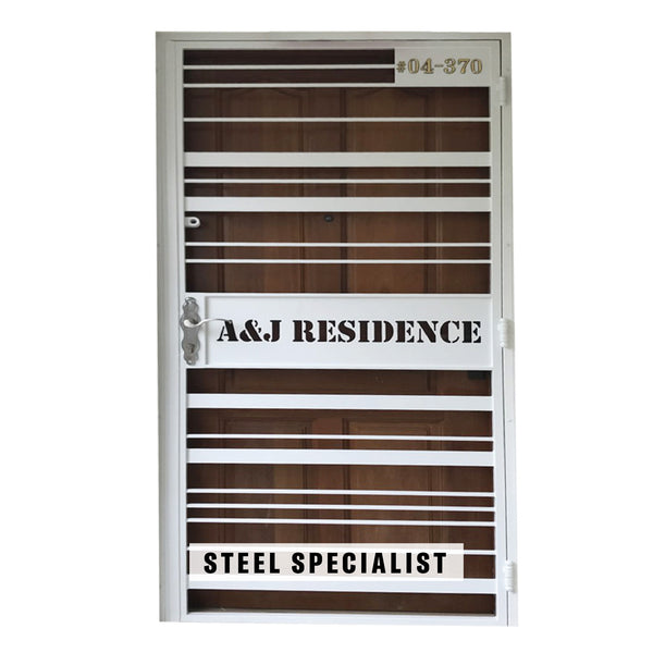 HDB Mild Steel Gate - SH010 Vintage Straight-Line Grille - Metal and Aluminium Fabrication
