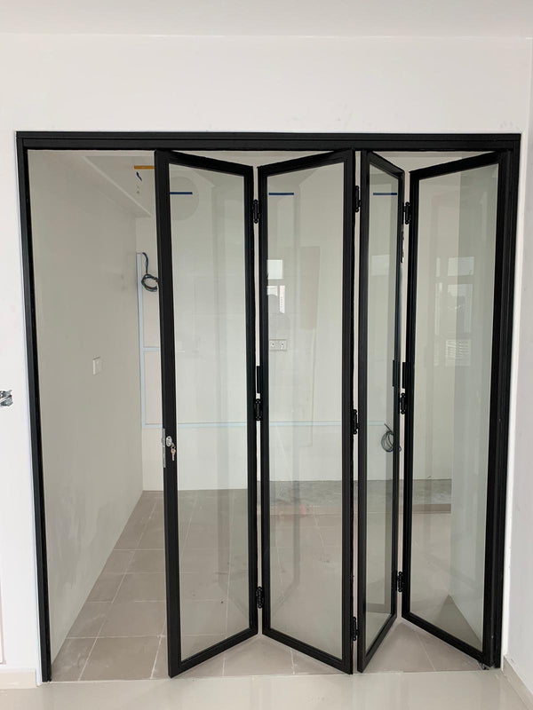 GD001 - Bi-fold Glass Doors with Mild-Steel Frame - Metal and Aluminium Fabrication