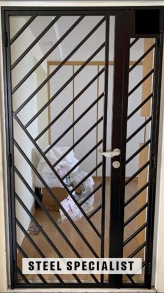 HDB Metal Gate - SH043 Diagonal Alternating Straight-Cut Grille - Metal and Aluminium Fabrication
