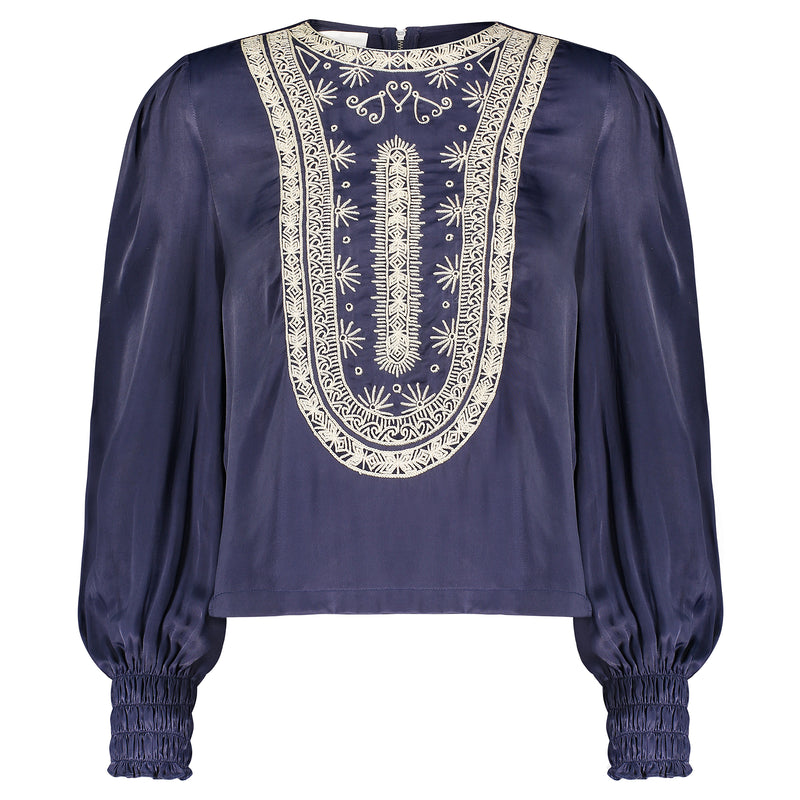 Embroidered Silk Blouse by Souk Indigo