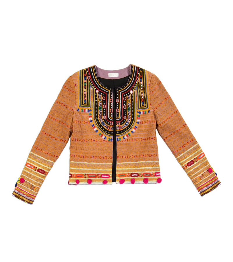 Souk Indigo Colorful hand embroidered Vesta Jacket with hand beading