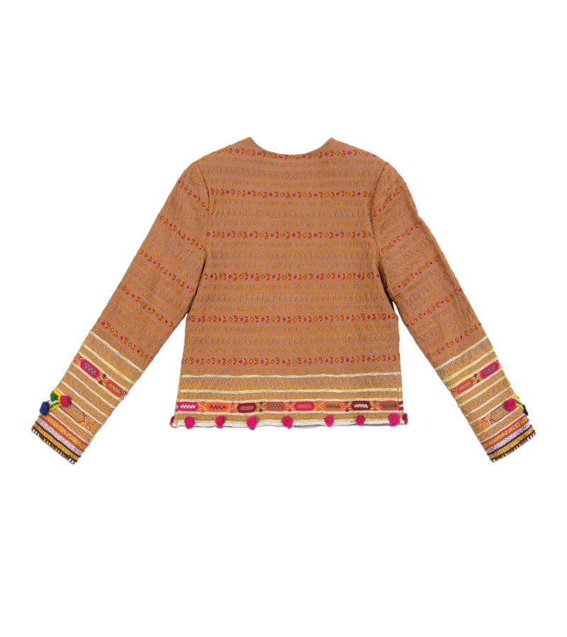 Souk Indigo colorful hand embroidered Vesta Jacket with hand beading and pom poms