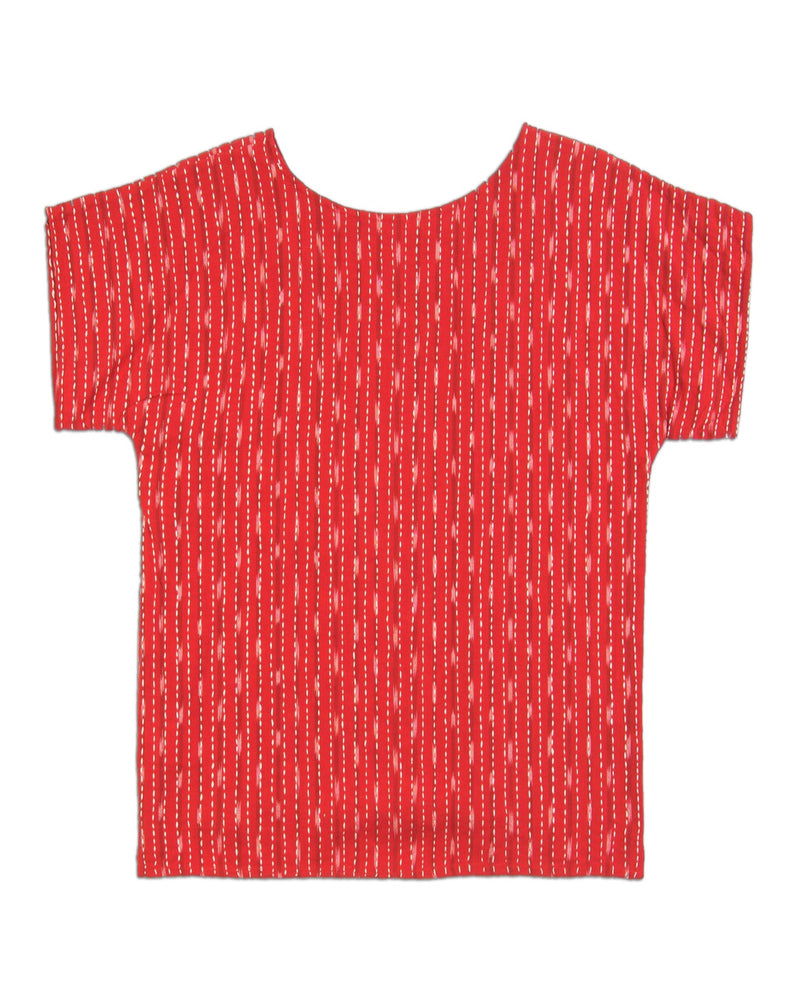cherry red kantha stitched top